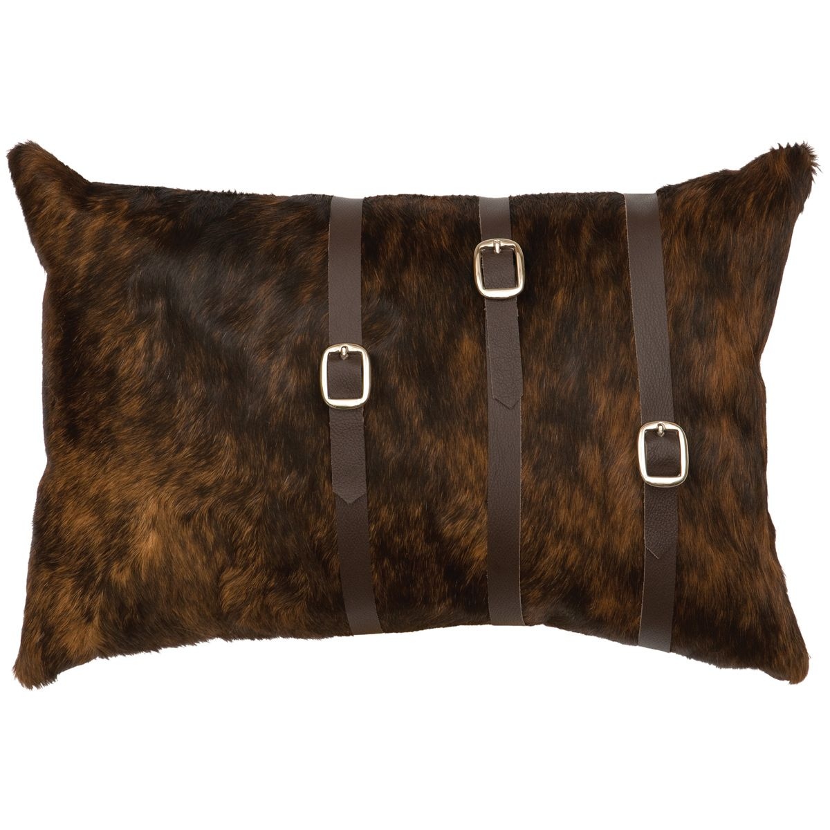 Buckled Dark Brindle Hair on Hide Pillow with Fabric Back