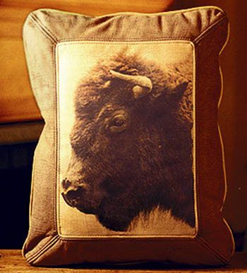 Buffalo Head Leather Pillow