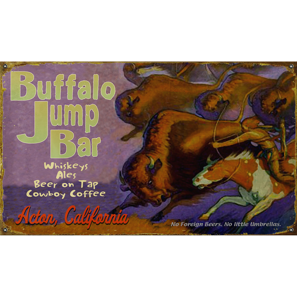 Buffalo Jump Personalized Sign - 23 x 39