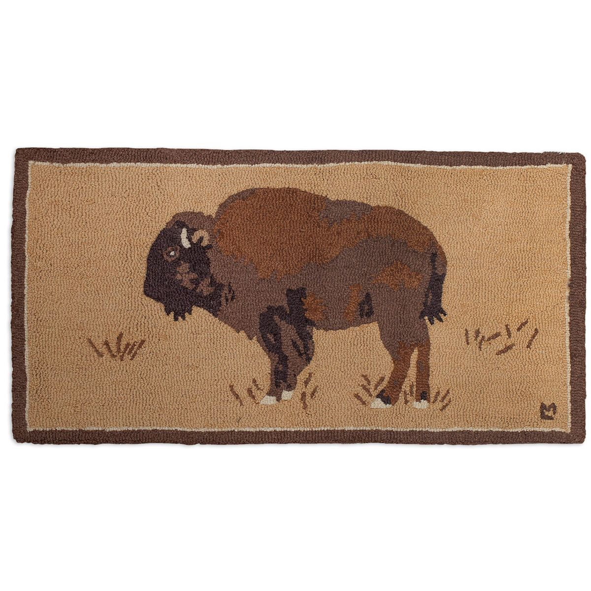 Buffalo on Gold Hooked Wool Accent Rug
