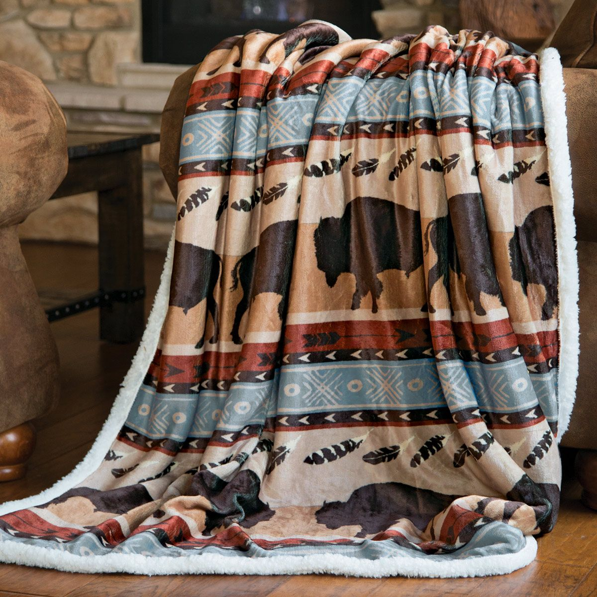 Buffalo Roam Plush Throw