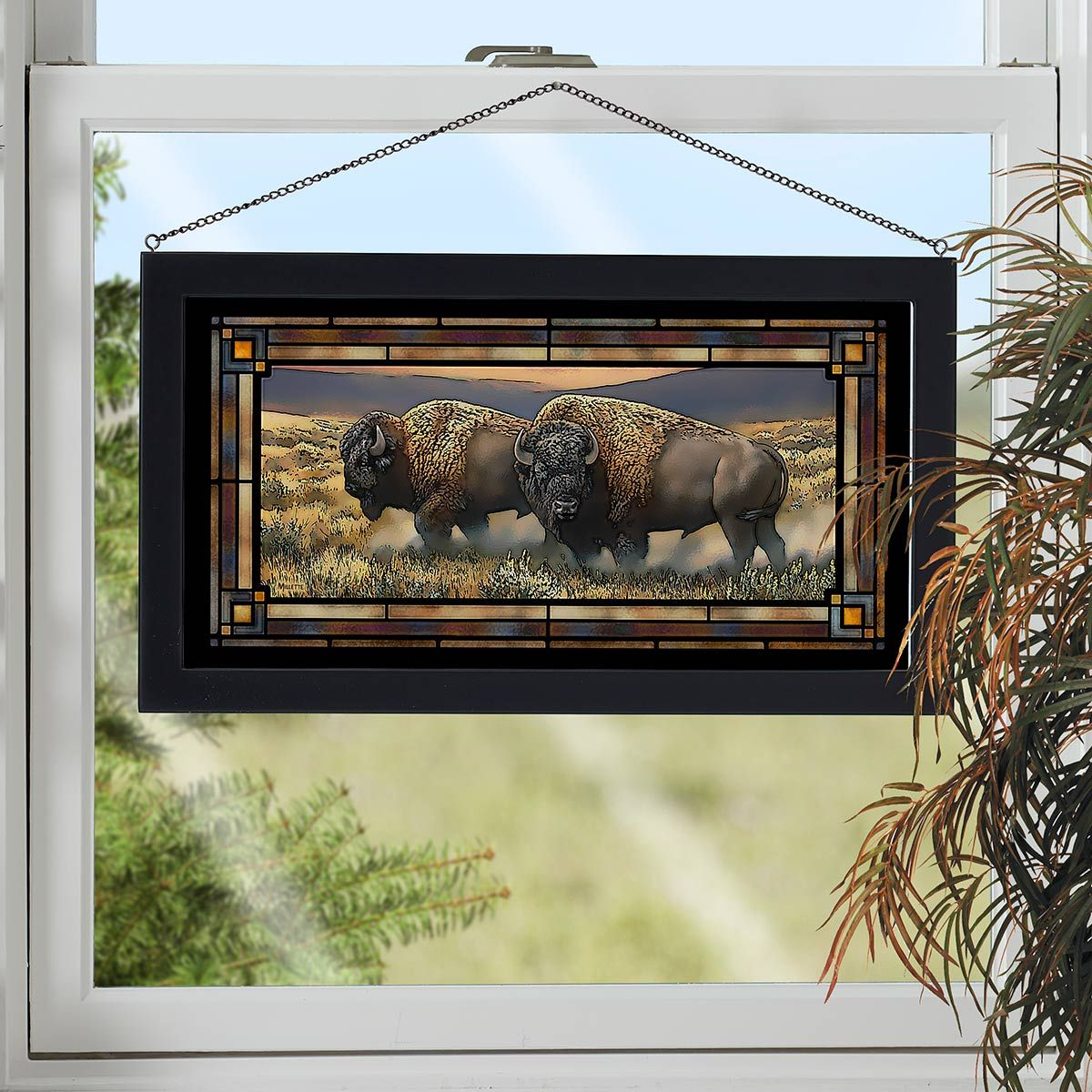 Buffalo Roam Stained Glass Art