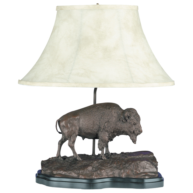 Buffalo Sculpture Table Lamp with Faux Leather Shade