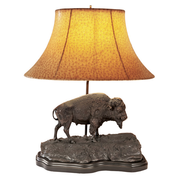 Buffalo Sculpture Table Lamp with Faux Ostrich Shade