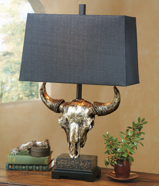 Buffalo Skull Table Lamp