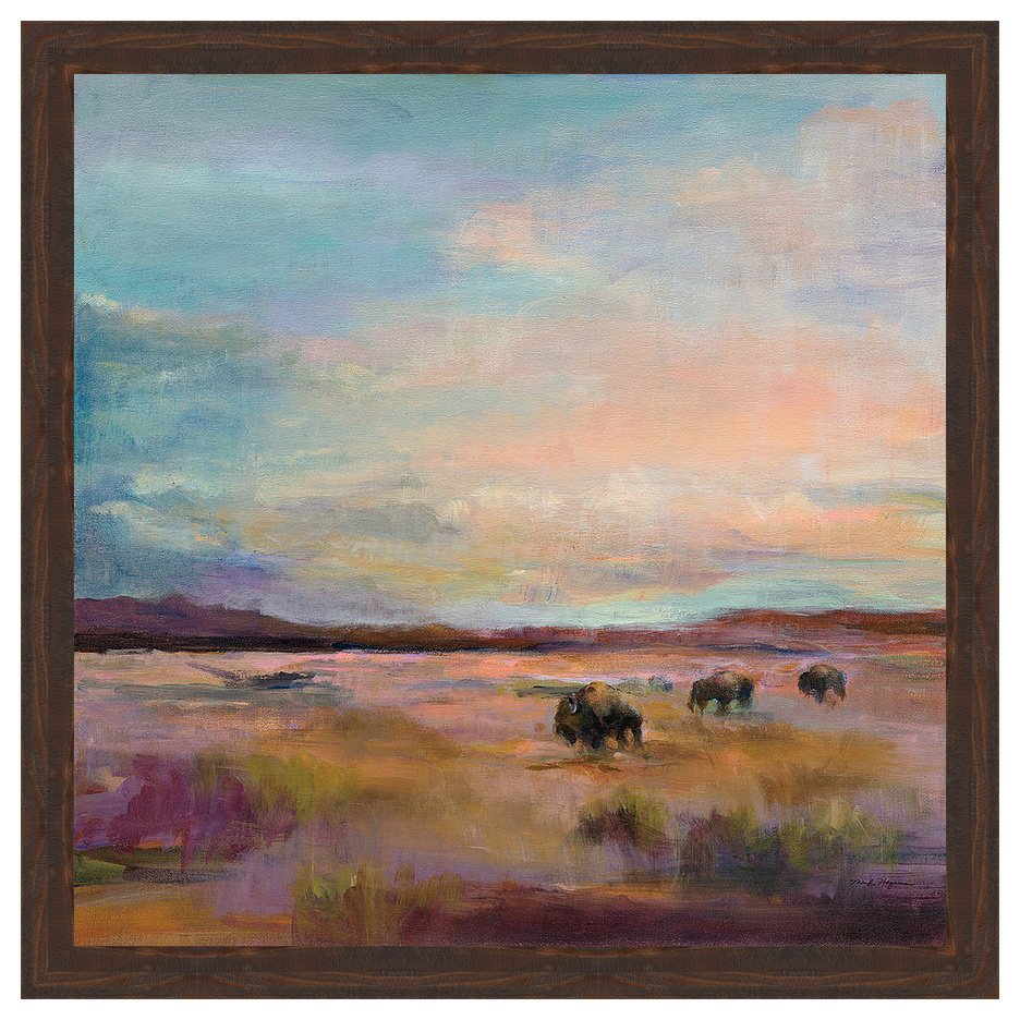 Buffalo Under Big Sky Framed Canvas