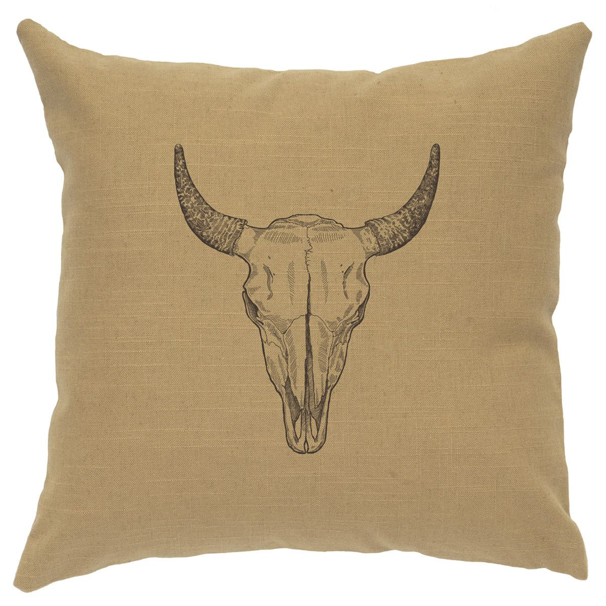 Bull Skull Linen Pillow - Straw