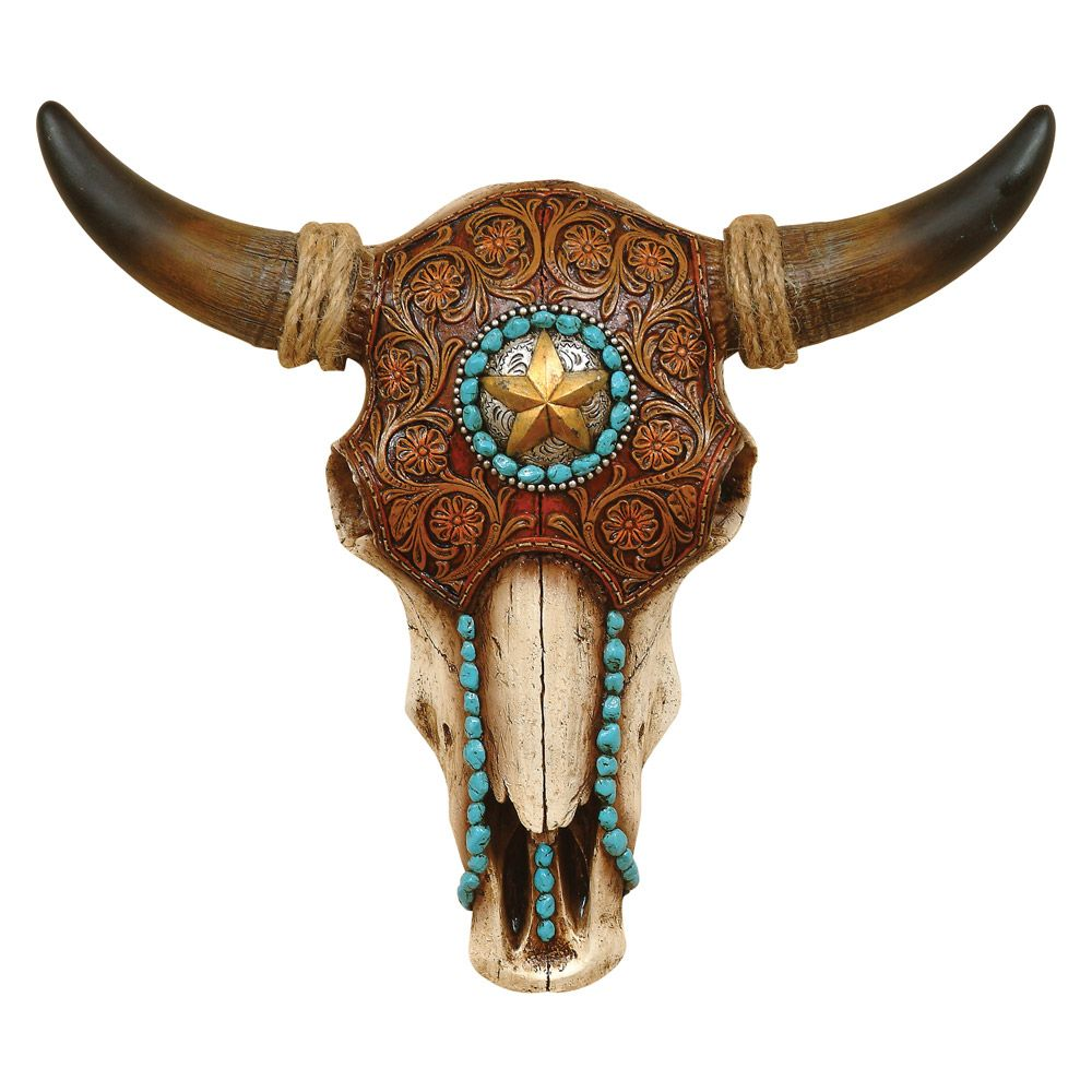 Bull Skull with Tooled Leather Design