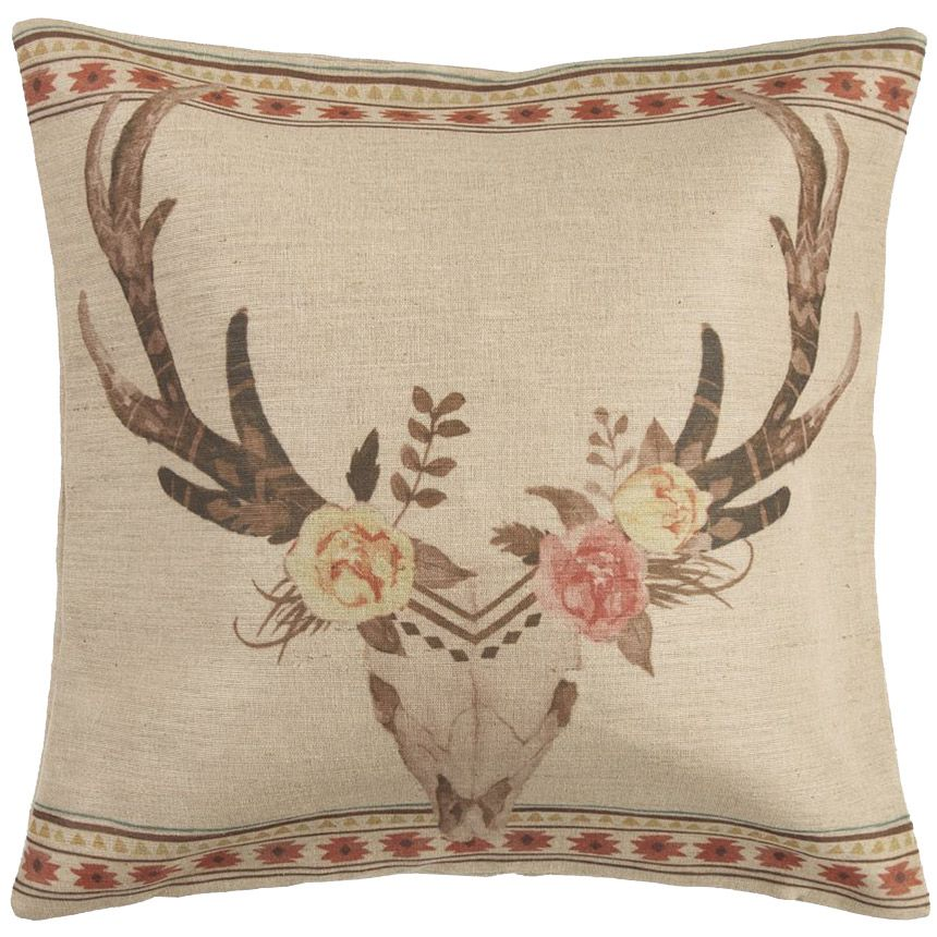 Burlap Skull with Flowers Pillow