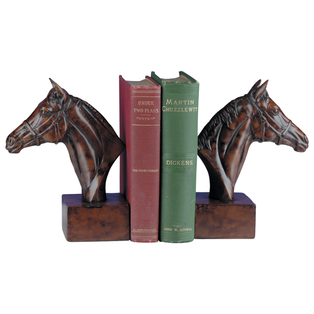 Burlwood Horse Head Bookends
