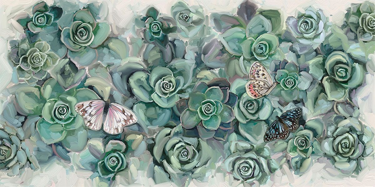Cactus Butterflies Canvas Wall Art