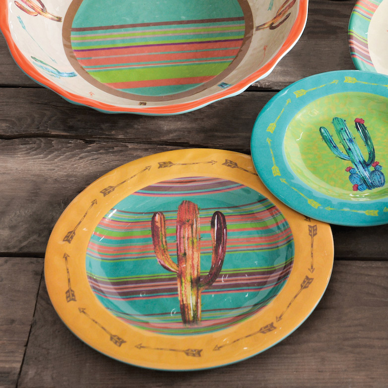 Cactus Design Melamine Dinner Plates - Set of 4