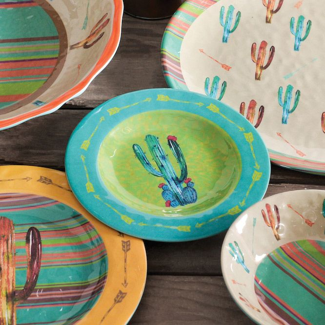 Cactus Design Melamine Salad Plates - Set of 4