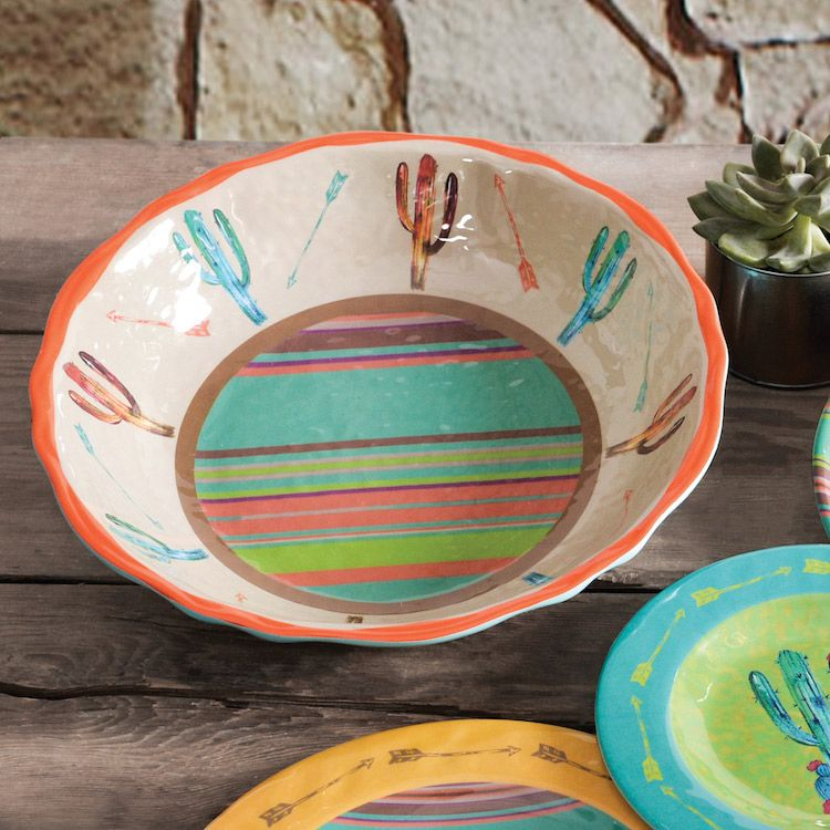 Cactus Design Melamine Serving Bowl