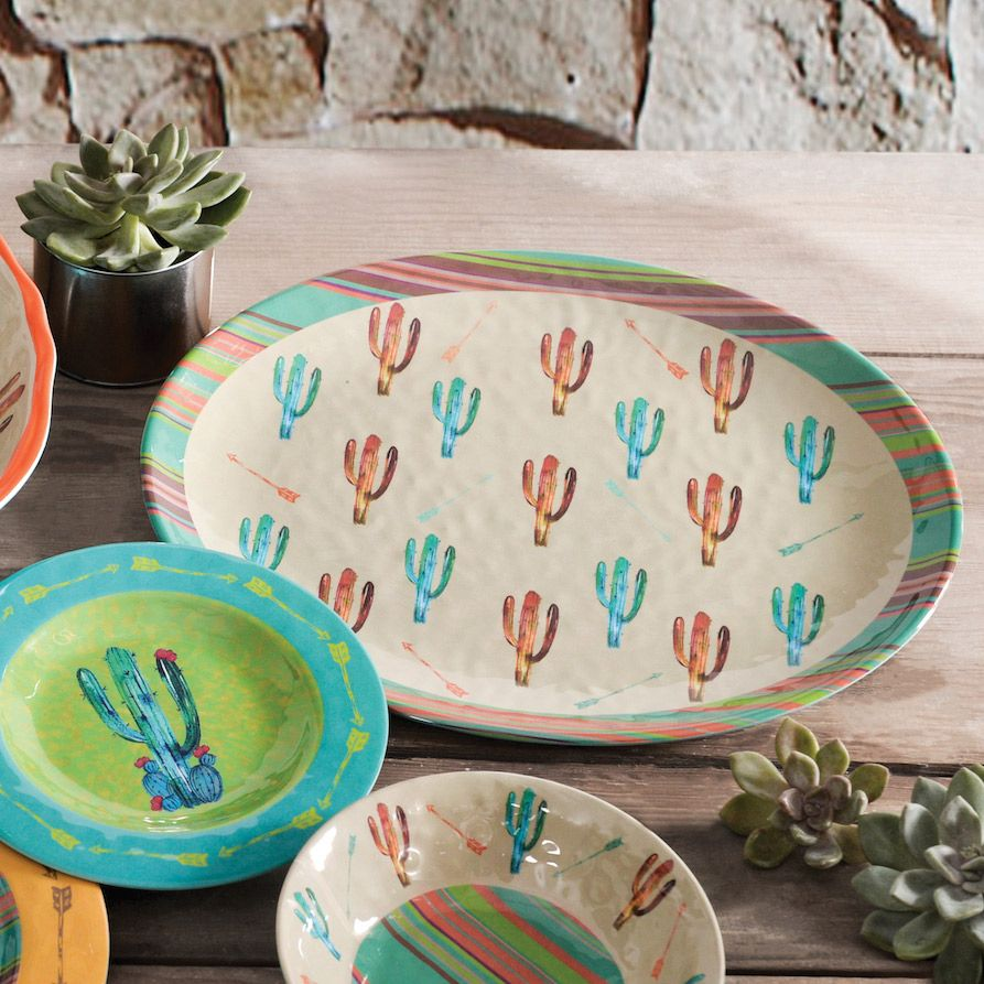 Cactus Design Melamine Serving Platter