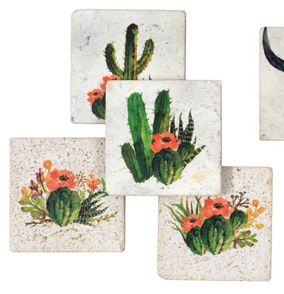 Cactus Flowers Coasters (4 pcs)