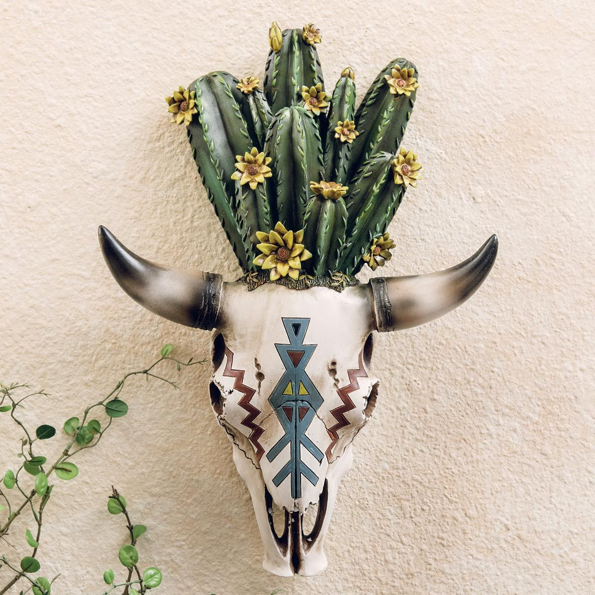 Cactus Flowers Steer Skull - CLEARANCE