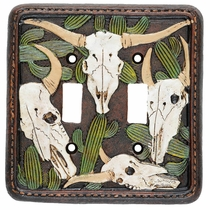 Cactus Skull Double Switch Plate