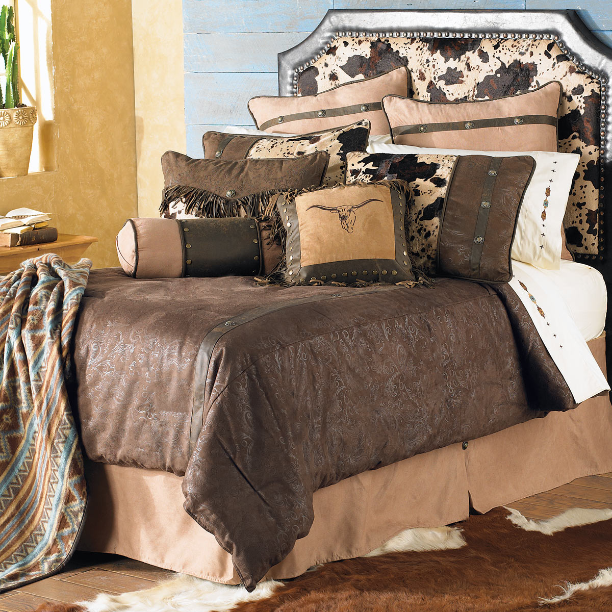 Western Bedding King Size Caldwell Cowhide Bed Set Lone Star Decor