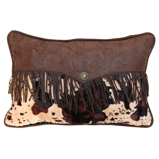 Caldwell Cowhide Fringed Envelope Pillow