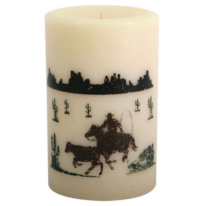 Calf Roper Pillar Candle - 4 Inch