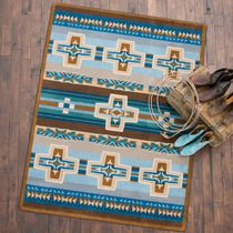 Canyon Cross Blue Rug - 2 x 8