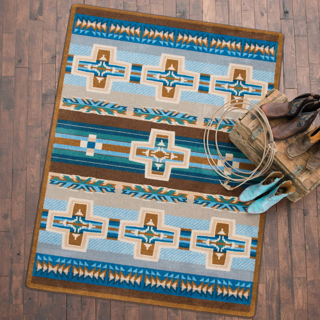 Canyon Cross Blue Rug - 5 x 8