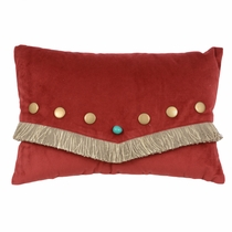 Red Velvet Turquoise Stone Pillow with Fringe