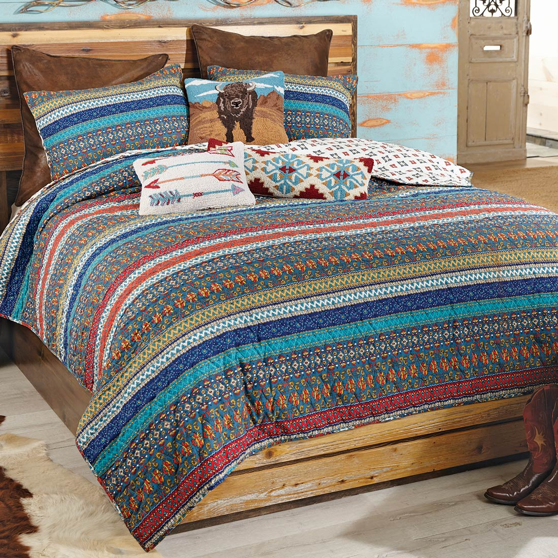 Canyon Stripes 3pc Quilt Set - King - CLEARANCE