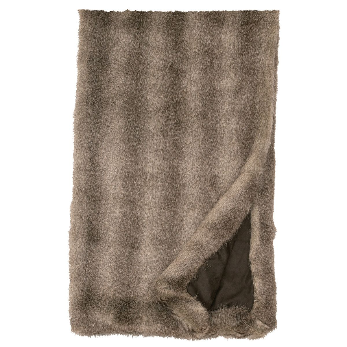 Cape Gray Fox Faux Fur Throw