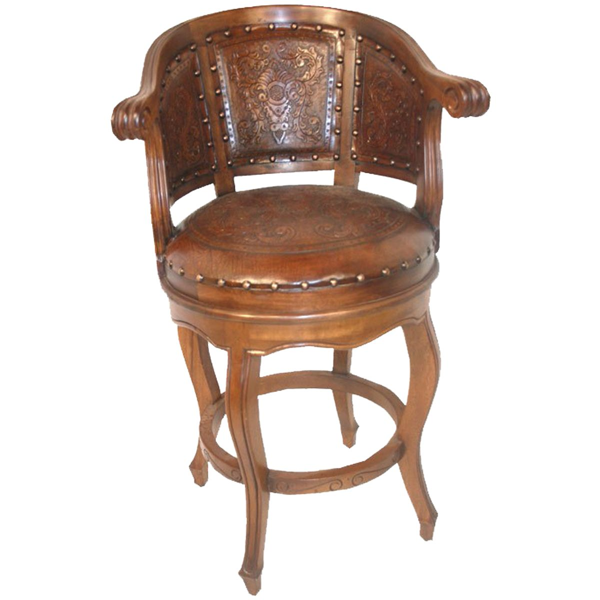 Cardenal Swivel Barstool with Back - Rustic
