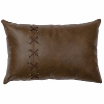 Caribou Leather and Deerskin Laced Pillow - Fabric Back
