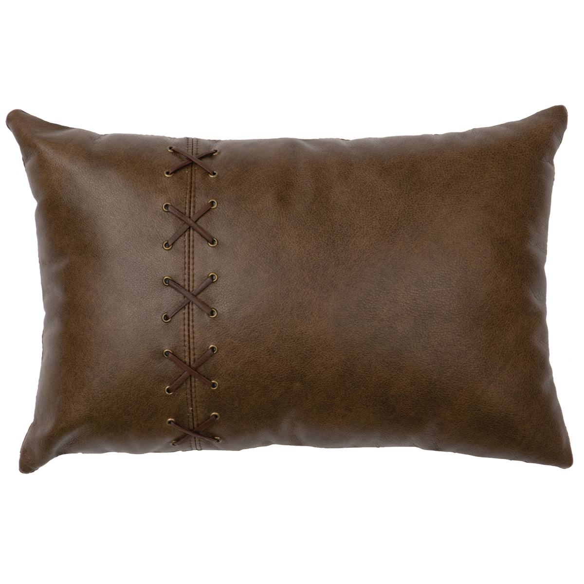 Caribou Leather and Deerskin Laced Pillow - Leather Back