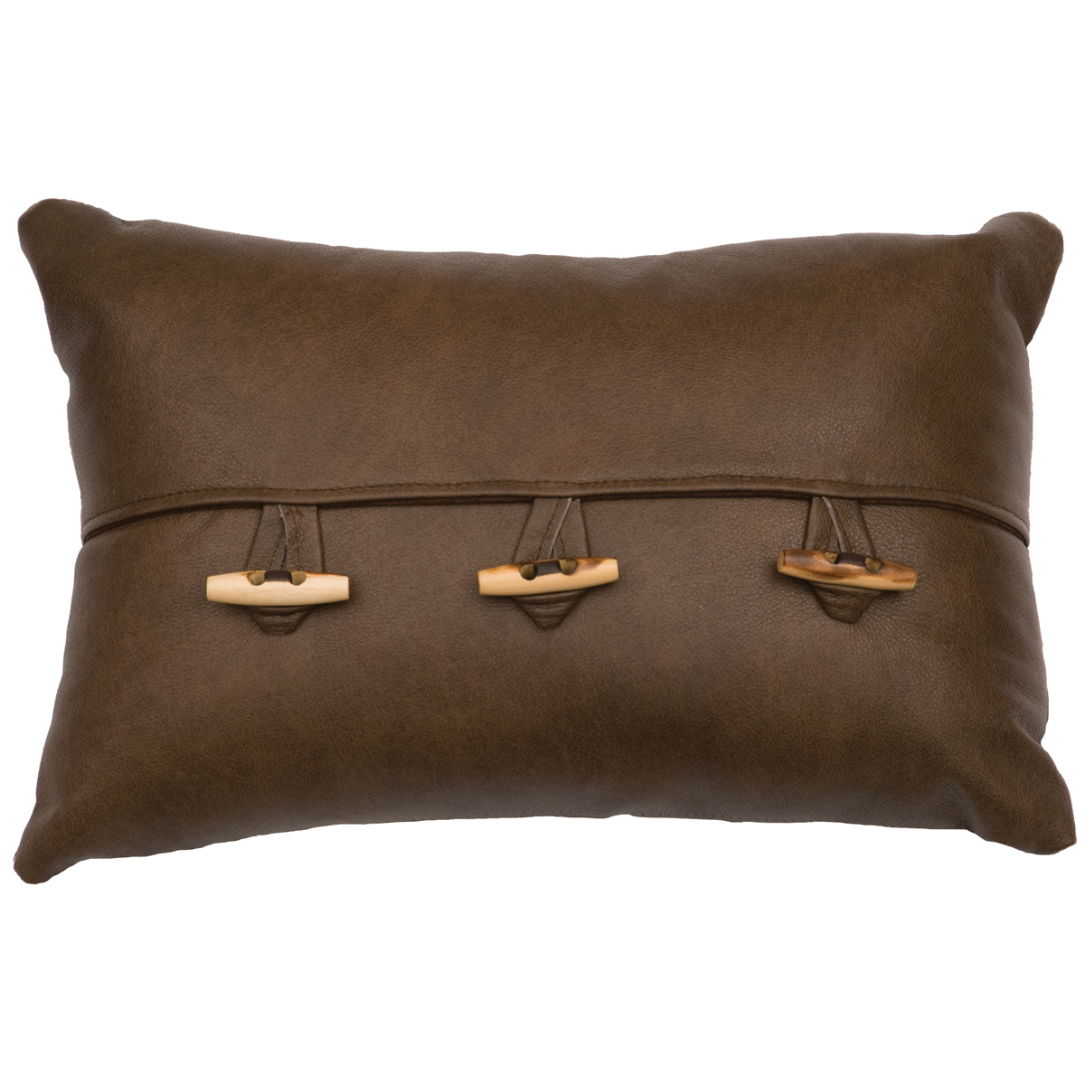 Caribou Leather Flap Pillow with Toggle Buttons - Fabric Back