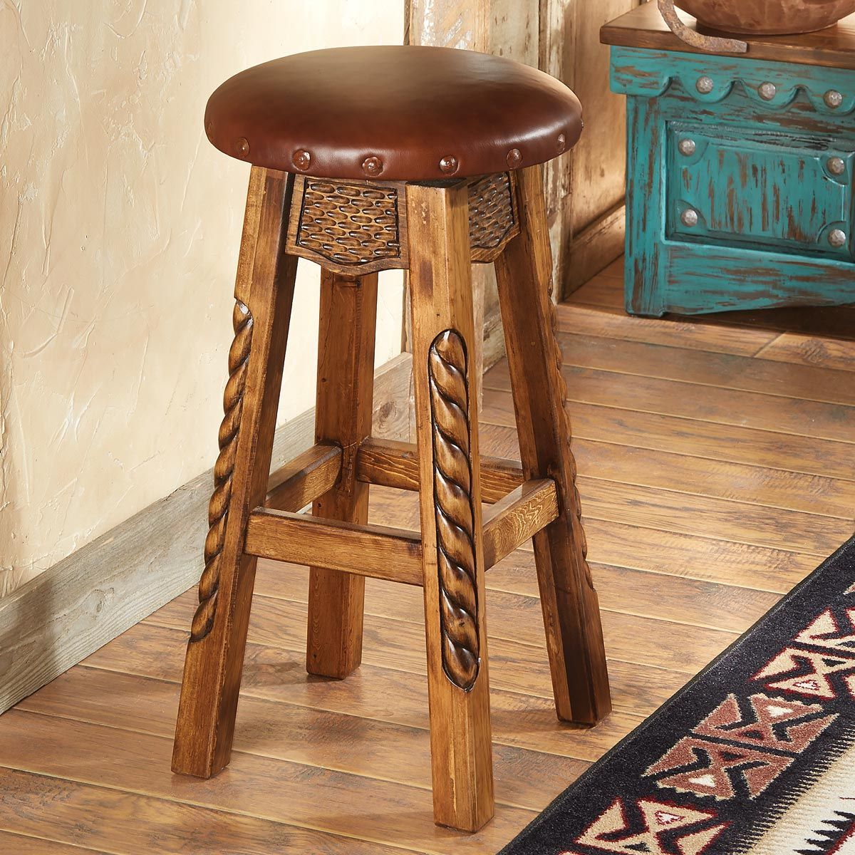 Carved Wood Roper Bar Stool - Bar Height