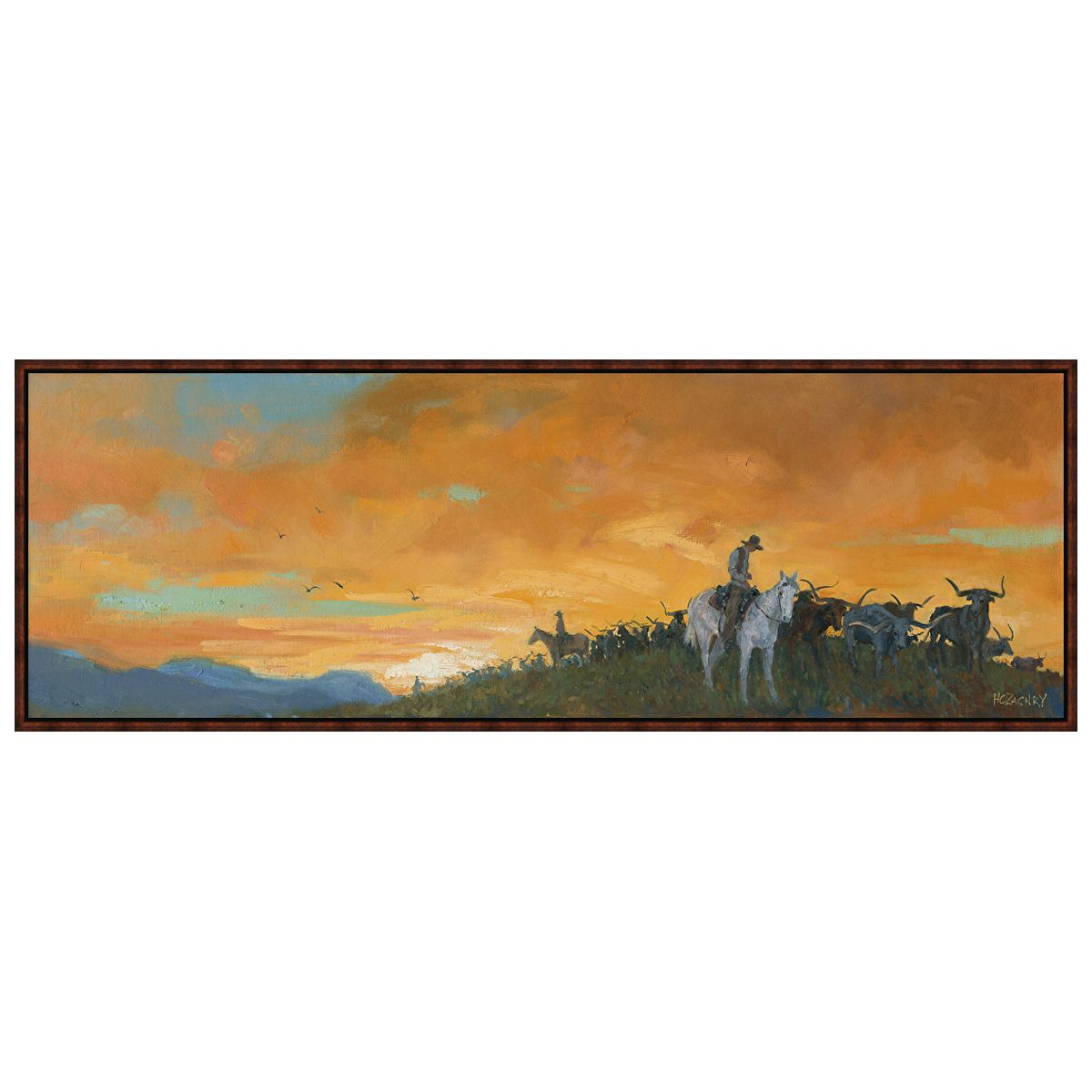 Cattle Drive Framed Canvas