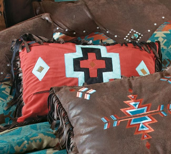 Cerrillos Hills Turquoise Red Cross Pillow - CLEARANCE