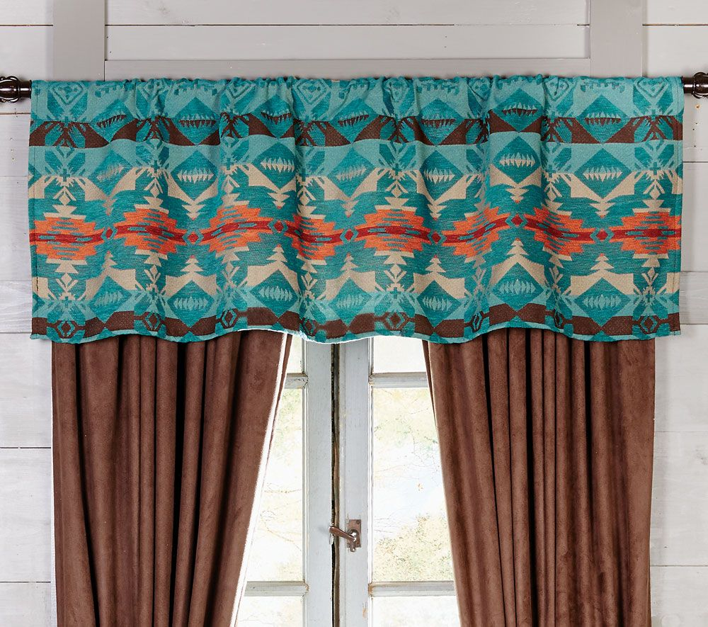 Cerrillos Hills Turquoise Rod Pocket Valance - CLEARANCE
