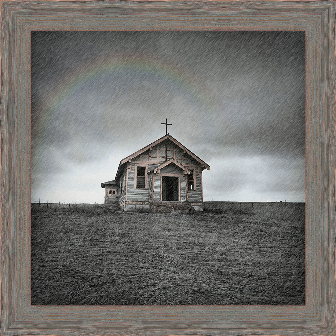 Chapel in the Rain Framed Canvas