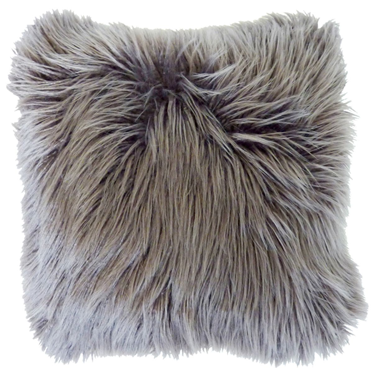 Charcoal Faux Llama Fur Pillow