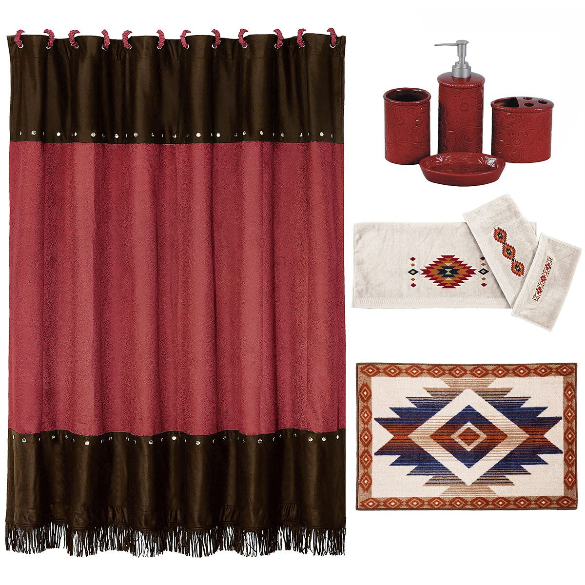 Cheyenne Red 21 Piece Bath Set