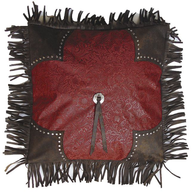 Red Tooled Leather Pillow