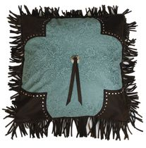 Calhoun Turquoise Fringed Pillow