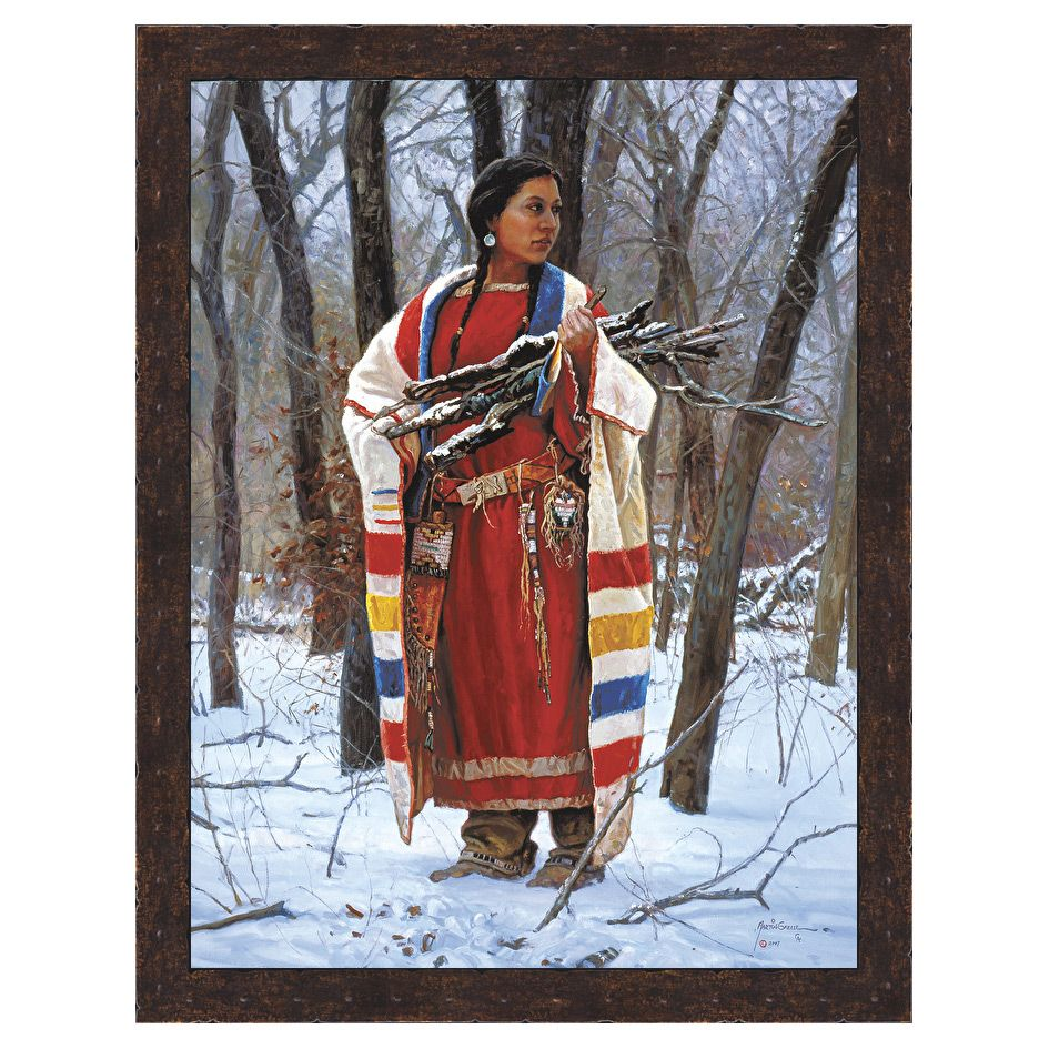 Cheyenne Wood Gatherer Framed Canvas