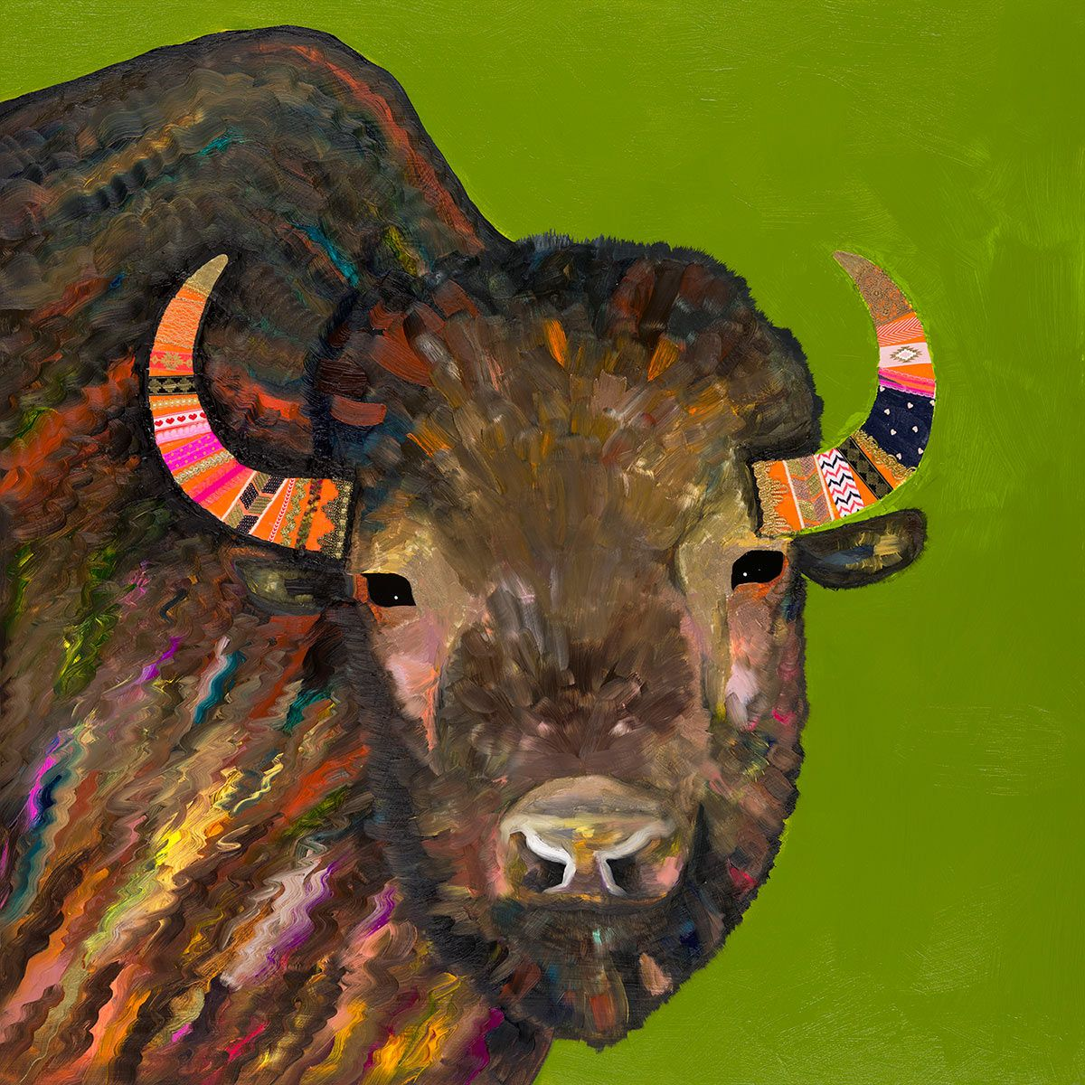 Chic Buffalo Green Canvas Art