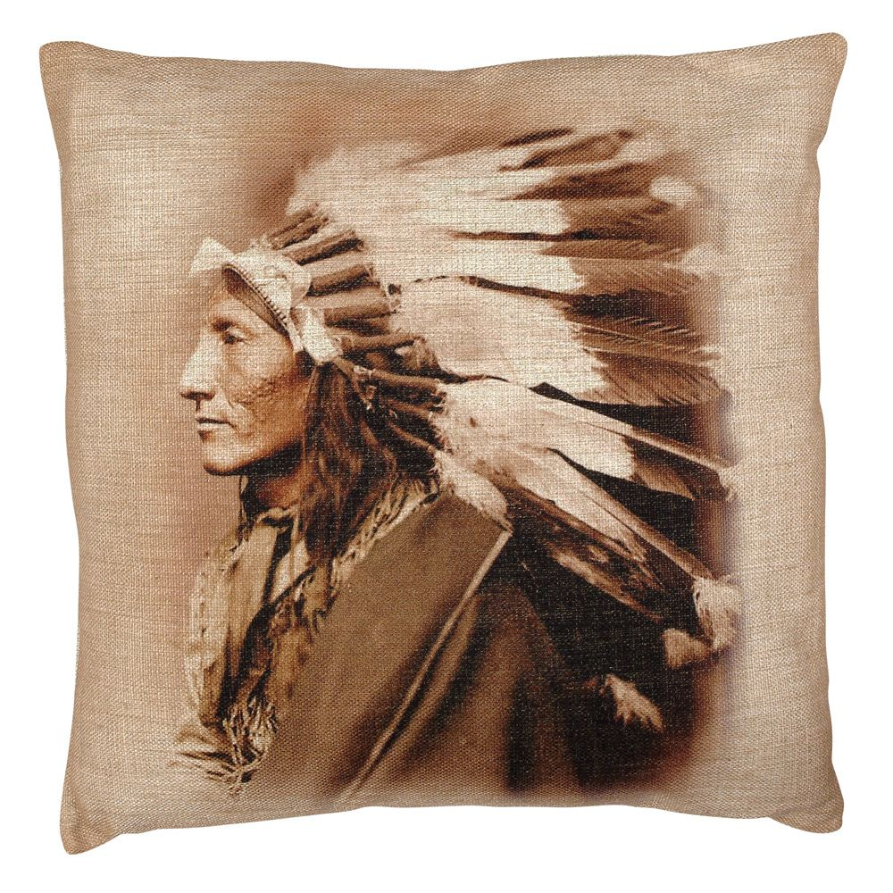 Chief Burlap Pillow