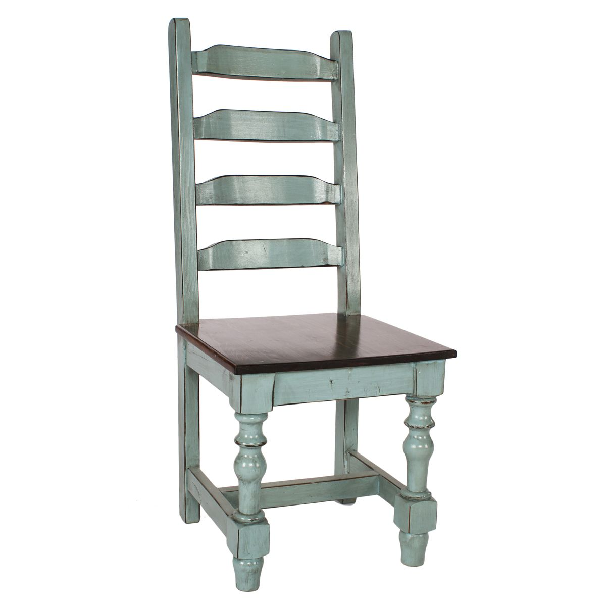 Chocolate and Light Turquoise Buganda Side Chair