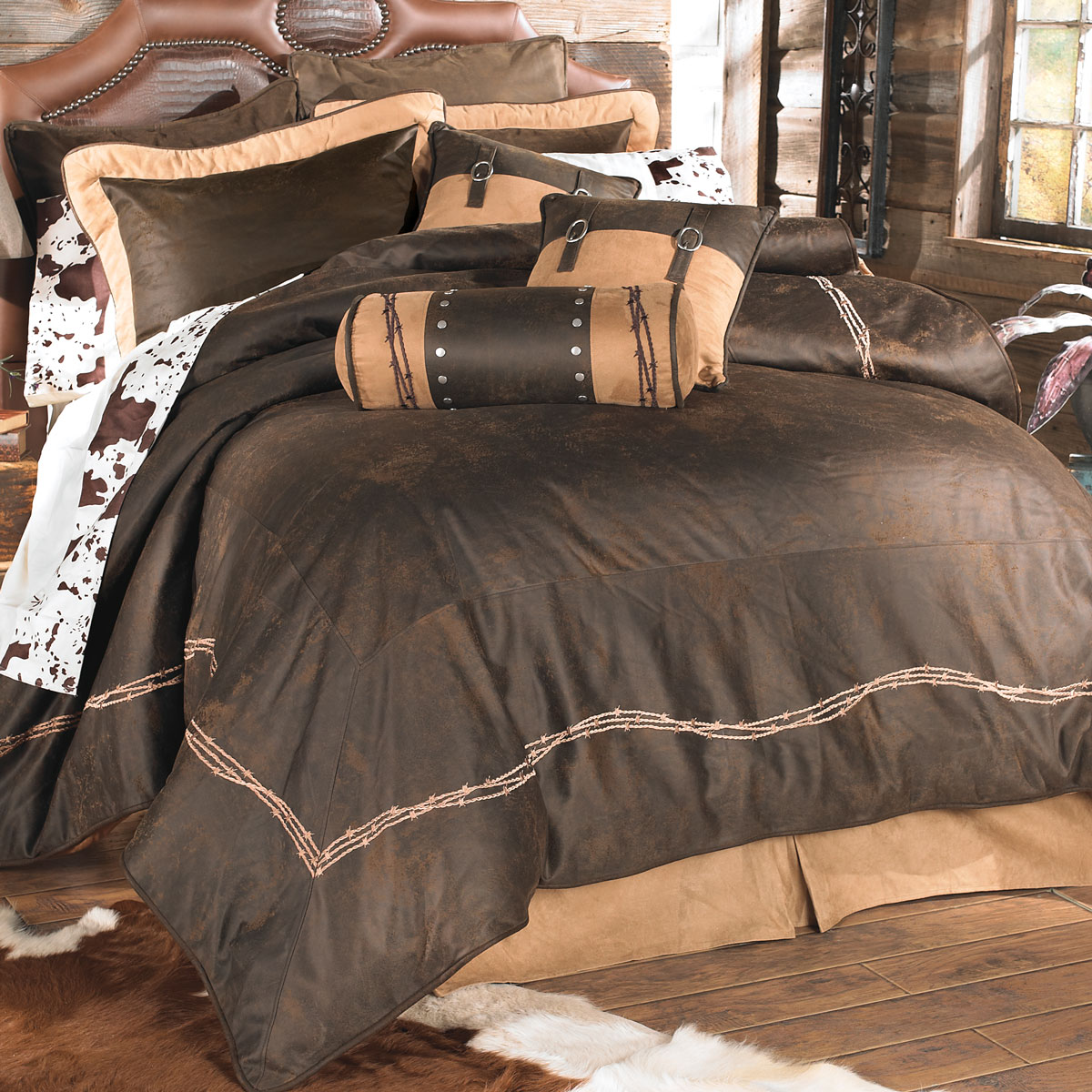 Chocolate Barbed Wire Bed Set - King