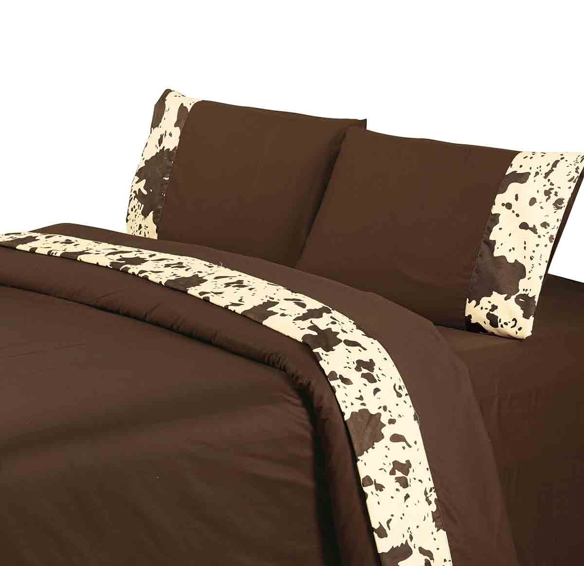 Chocolate Cowhide Sheet Set - Twin