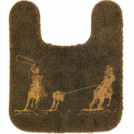 Chocolate Roping Cowboys Contour Rug